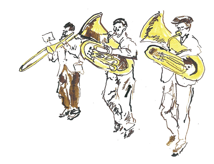 Brass Band Editorial Illustration