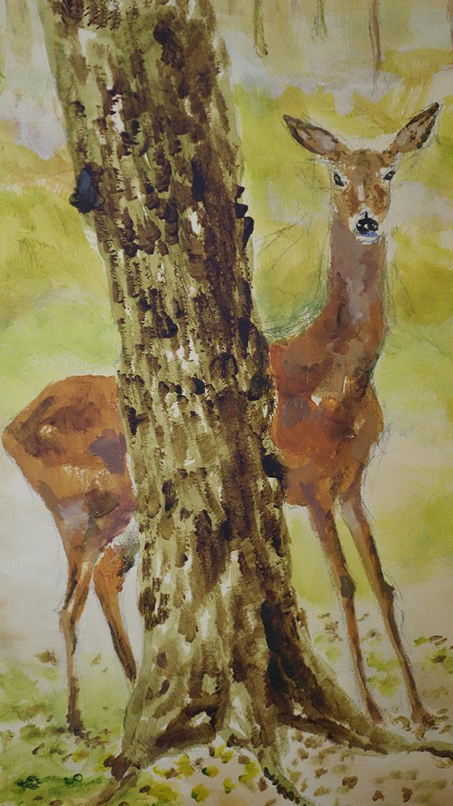 Woods Deer Mural