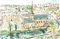Abbaye de Neumunster Card Illustration